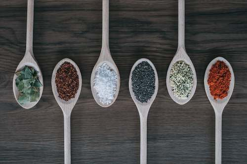 photo spoon assorted-color spoons with spices dannau free for commercial use images