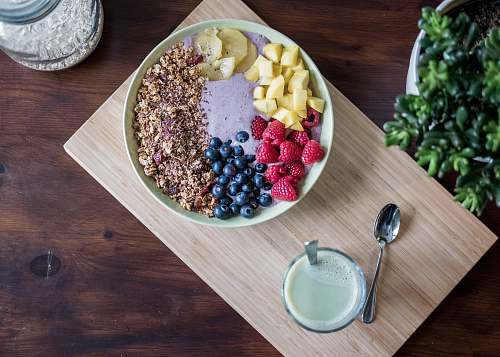 healthy flat lay photography of fruits on plate meal