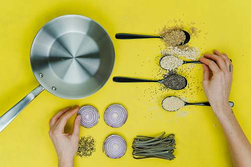photo united kingdom flat lay photography of saute skillet beside spoon of spices and vegetables kitchen free for commercial use images