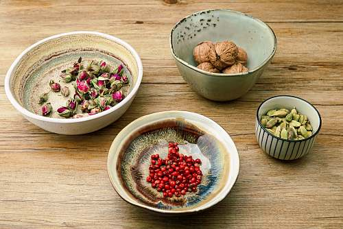 bean four assorted ingredients on bowls flora