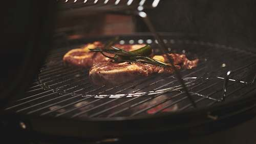 bbq selective focus photography of grilled meat on charcoal grill grill