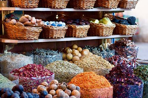 market vegetables in wicker baskets during daytime herbs
