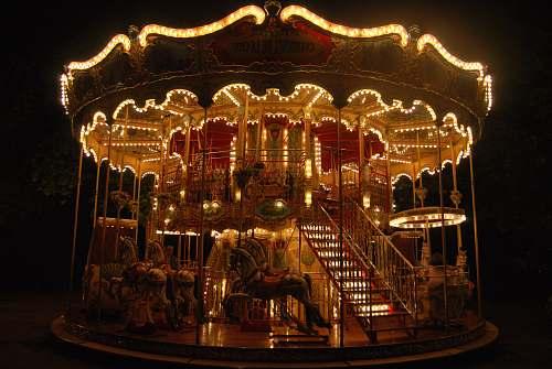 carousel lighted horse carousel amusement park