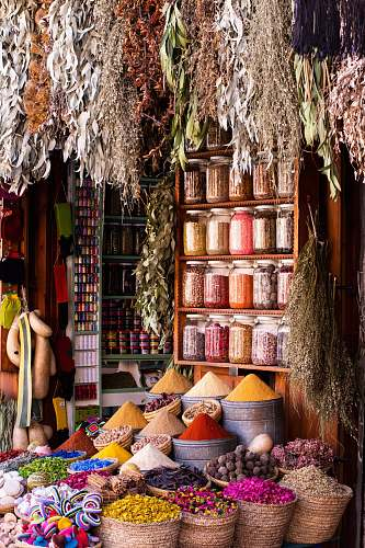 photo bazaar variety of spices in sack shop free for commercial use images