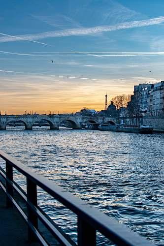 railing bridge and river seine