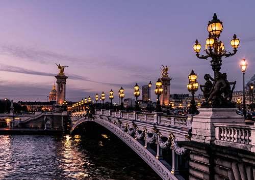 france bridge during night time bridge