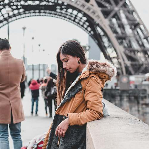 photo apparel woman leaning against wall near Eiffel Tower clothing free for commercial use images