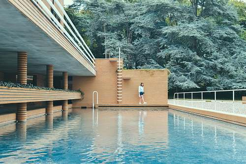 photo water woman wearing white shirt standing beside brown bricked wall and blue water pool near trees during daytime tree free for commercial use images