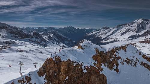 mountain scenery of snow covered mountain alps