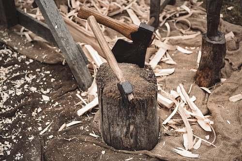 human two axe on wood axe