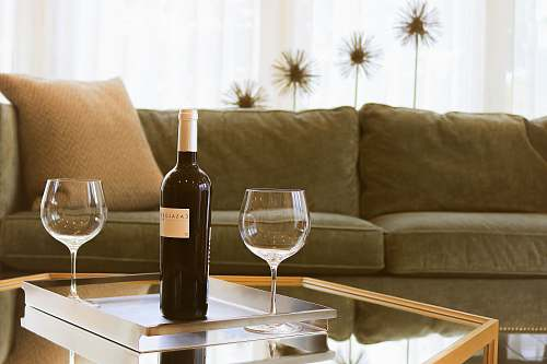 photo interior black wine bottle beside two wine glasses wine free for commercial use images