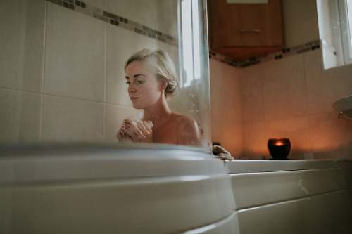 photo people naked woman sitting inside bath tub person free for commercial use images