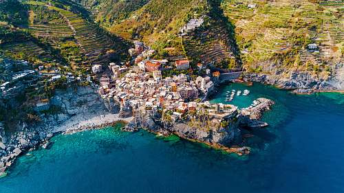 photo nature aerial photography of houses on hilltops near the ocean vernazza free for commercial use images
