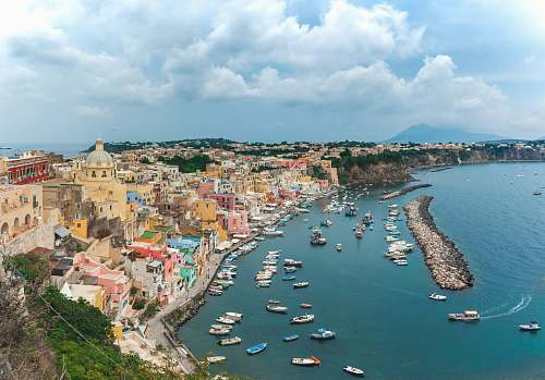 building bird's eye photo of building and body of water procida