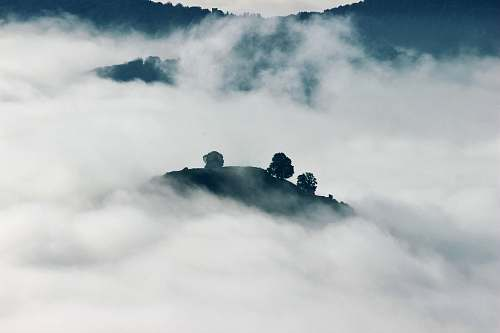 landscape aerial photography of clouds fog