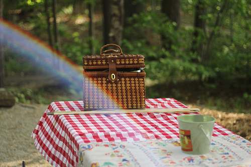 woods picnic basket on table food