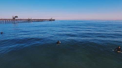pier three people swimming on ocean under blue sky dock