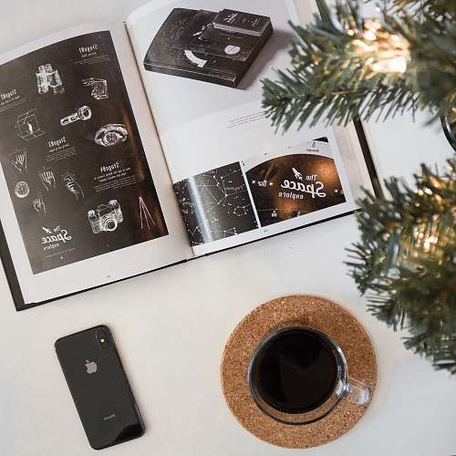 photo pottery photo of space gray iPhone 8 beside glass and brochure potted plant free for commercial use images