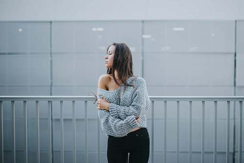 people woman in gray sweater person