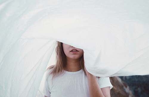people woman under white cloth girl