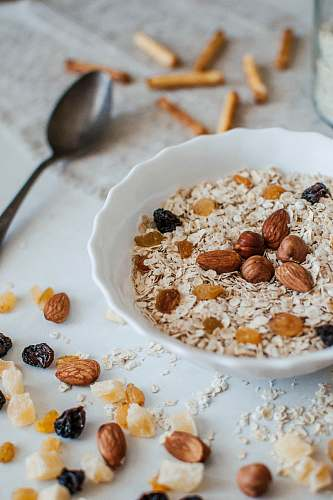 plant oatmeal with nuts vegetable