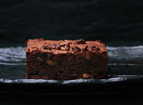 brownie sliced baked brownies on foiled tray chocolate