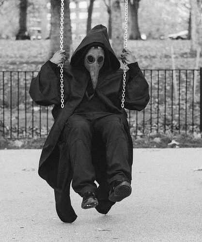 swing man wearing mask on swing chair toy