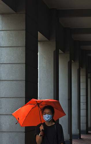 canopy women's holding umbrella beside post umbrella