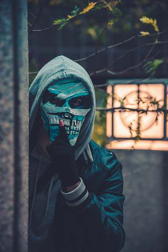 human photo of person wearing mask near barbed wire person
