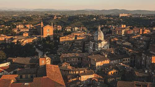 roof Beautiful aerial view by a drone of Siena, Italy. Charming old buildings showcase western Europe's architecture. architecture