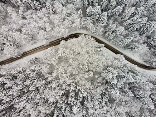 ice high-angle view of empty roadway outdoors