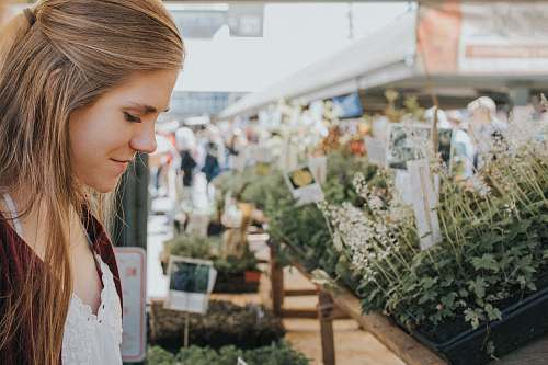 photo woman woman looking at plants female free for commercial use images