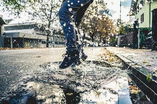 switzerland person making splash on water puddle on road thun