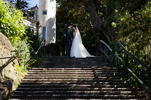 stairs wedding couple photo bride