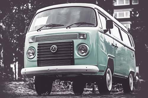 vehicle selective color photography of teal Volkswagen T1 van automobile