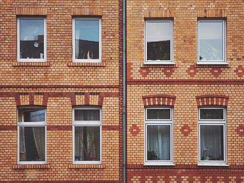 germany orange and red brick wall with mirrors brick
