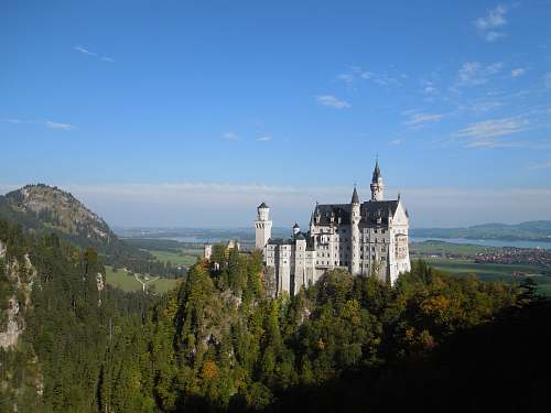landscape aerial view of castle inside forest during daytime castle