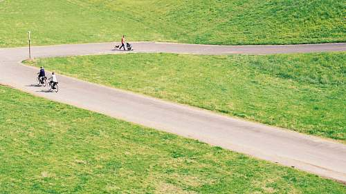 düsseldorf winding road near grass field grass
