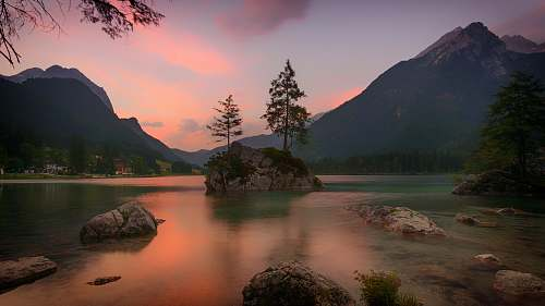outdoors landscape photography of tree on rock formation surrounded by body of water near mountain during sunset tree