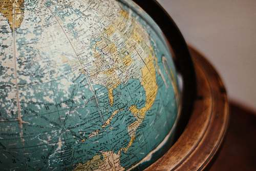 globe blue earth globe on table planet