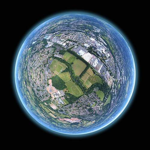 planet fish-eye aerial shot of buildings and trees sphere