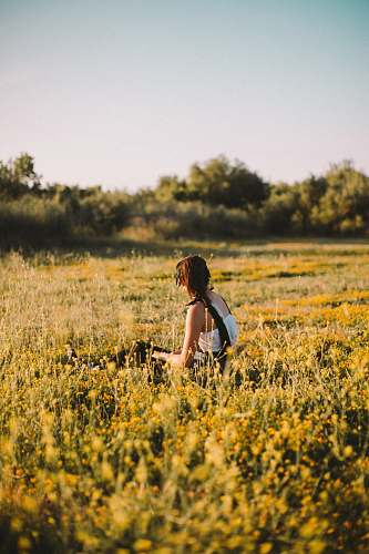 grassland woman sitting on yellow-petaled flowers outdoors