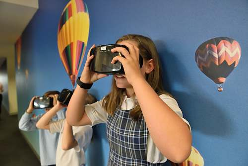 photo person girl wearing VR headset photography free for commercial use images