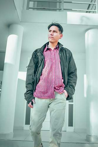 photo apparel man wearing grey zip-up jacket clothing free for commercial use images
