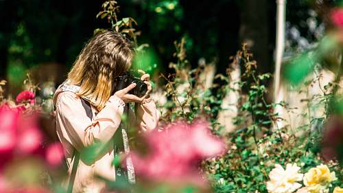 photo person selective focus photography of woman holding black DSLR camera during daytime photo free for commercial use images
