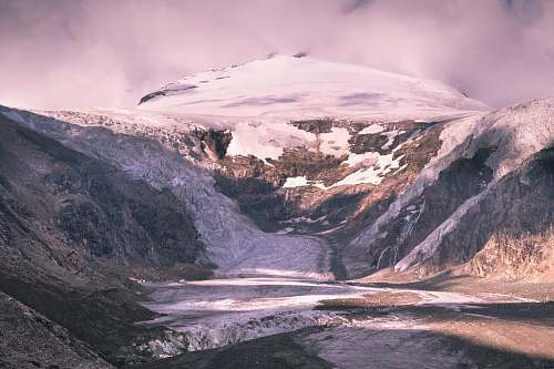 ice aerial view of mountain glacier