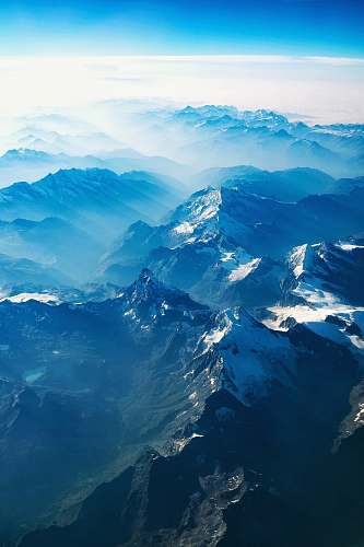 nature bird's eye view of mountains blue