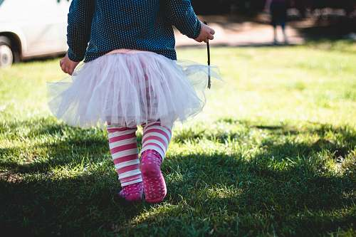 kid toddler girl wearing teal and white polka-dot long-sleeved shirt and white tutu skirt outfit walking on green sod at daytime tutu