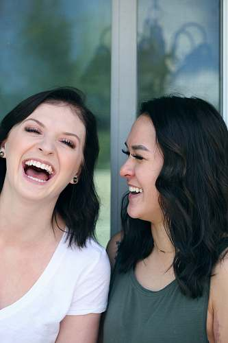 photo human two woman laughing person free for commercial use images