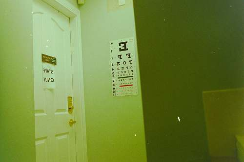photo green eye test chart on wall in room wall free for commercial use images